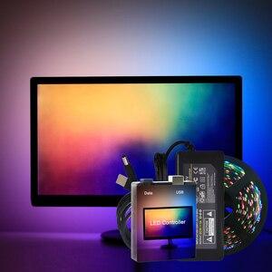 Fácil diy ambiente de trabalho do computador pc tela iluminação backlight rgb usb ws2812b tira conduzida luz 1m 2m 3m 4m 5m kit completo