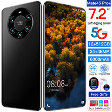 Global Version Mate45 Pro+ 7.2 Inch Smartphone Full Screen Android10 5000mAh 12+512GB Face\Fingerprint Unlock 4G 5G Mobile Phone