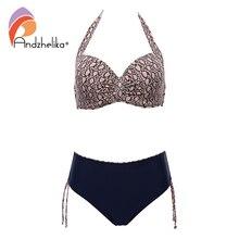 Andzhelika Sexy Leopard Bikini duża miseczka kobiety push up strój kąpielowy Patchwork Bikini Set Plus rozmiar stroje kąpielowe strój kąpielowy