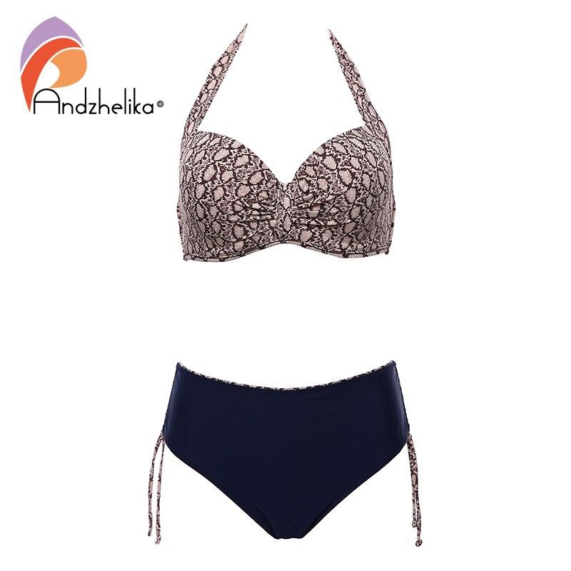 Andzhelika Sexy Leopard Bikinis Large Cup Women Push Up Swimsuit Patchwork Bikini Set Plus Size Swimwear Beach Bathing Suit