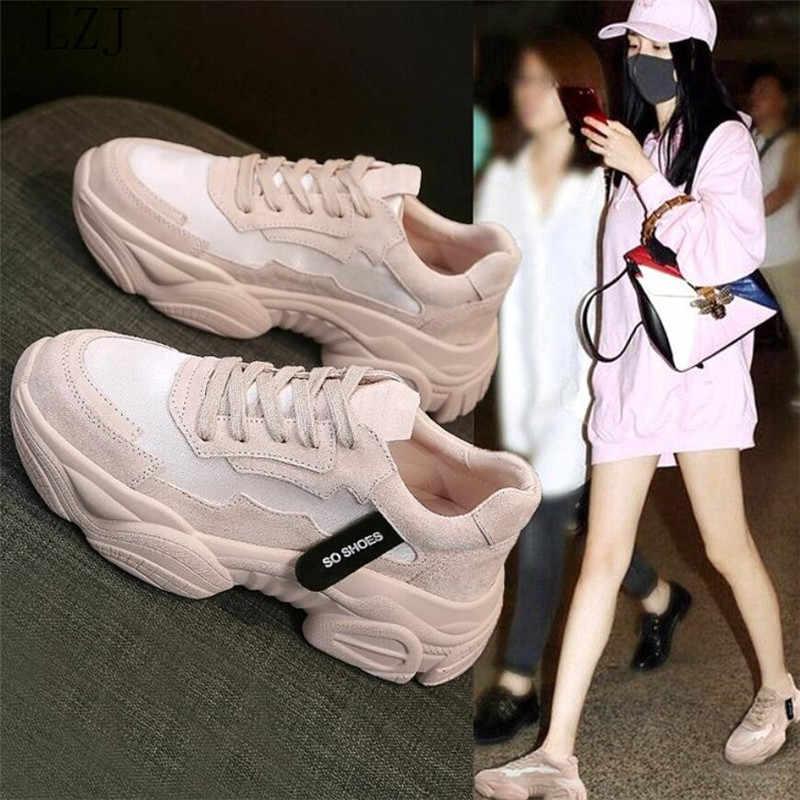 Nữ Chun Giày 2019 Thời Trang Nữ Giày Đế Xuồng Phối Ren Hồng Vulcanize Giày Nữ Nữ Huấn Luyện Viên Bố Giày