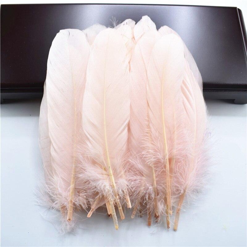 Жесткий полюс, натуральные гусиные перья для рукоделия, 5-7 дюймов/13-18 см, самодельные ювелирные изделия, перо, свадебное украшение для дома - Цвет: Shell Pink