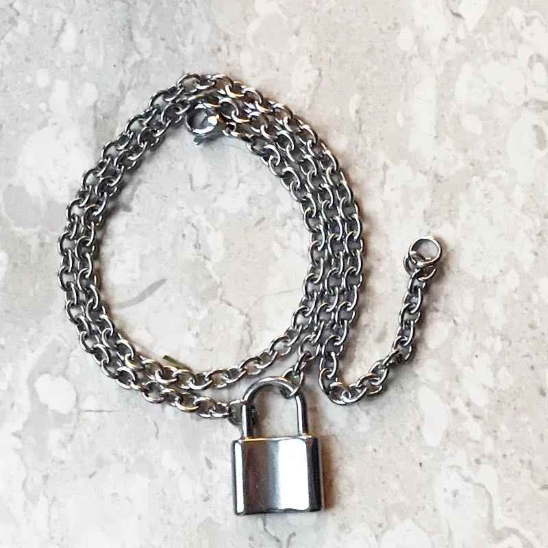 Rock Choker Long Chain Lock Necklace Two Holder Punk Link Chain Padlock Pendant Necklace Hiphop Women Men Fashion Gothic Jewelry
