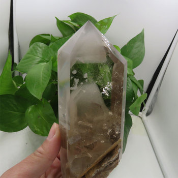 411g New AAAA Natural White Phantom White Rutile Quartz Crystal Point Wand  Mineral Stone