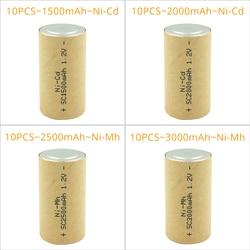 10pcs SC Subc 1.2V Ni-mh Ni-cd 1.5Ah/2.0Ah/2.5Ah/3.0Ah Rechargeable Battery Power Cell Ni CD Ni Mh Battery for Drill Screwdriver
