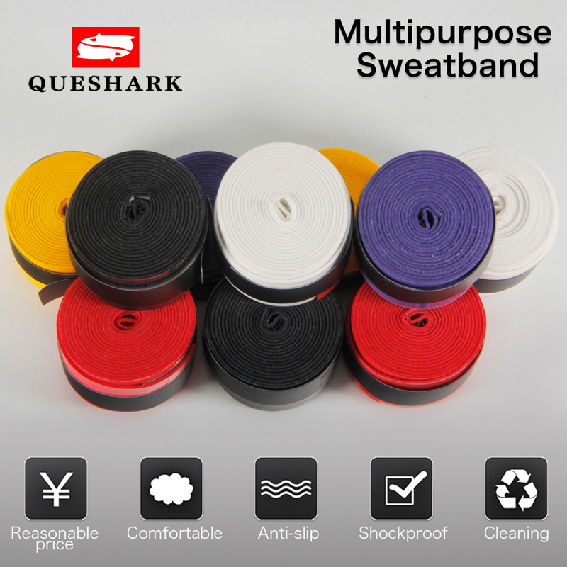 Queshark 10 pcs Coated Anti-slip Breathable Tennis Racket Sweat Bands Tapes Fishing Rods Badminton Racket Over Grip Wrap Tapes