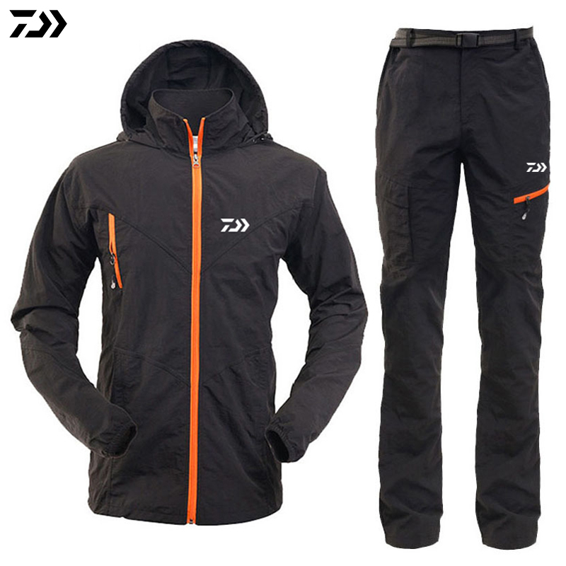 Fishing Men Outdoor Daiwa Waterproof Sets Breathable Casual Fishing Hoodie Jackets Camping Sport Clothing Jacket And Pants Set