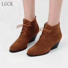 все цены на Plus Size 34-48 Ankle Boots for Women Lace Up High Heel Boots Round Toe 2019 Winter Fashion Shoes Woman Botas Mujer Botte Femme