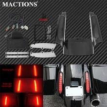 オートバイledライトリアフェンダー筋膜セット明るい黒ハーレーツーリングソンエレクトラグライドクラシックロードキングcvoストリートグライド