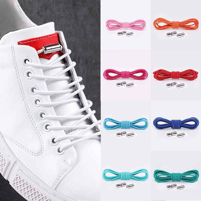 1Pair Elastic Locking Shoelaces Round No Tie Shoe Laces Kids Adult Sneakers Shoelaces Quick Lazy Shoe Lace Shoestrings