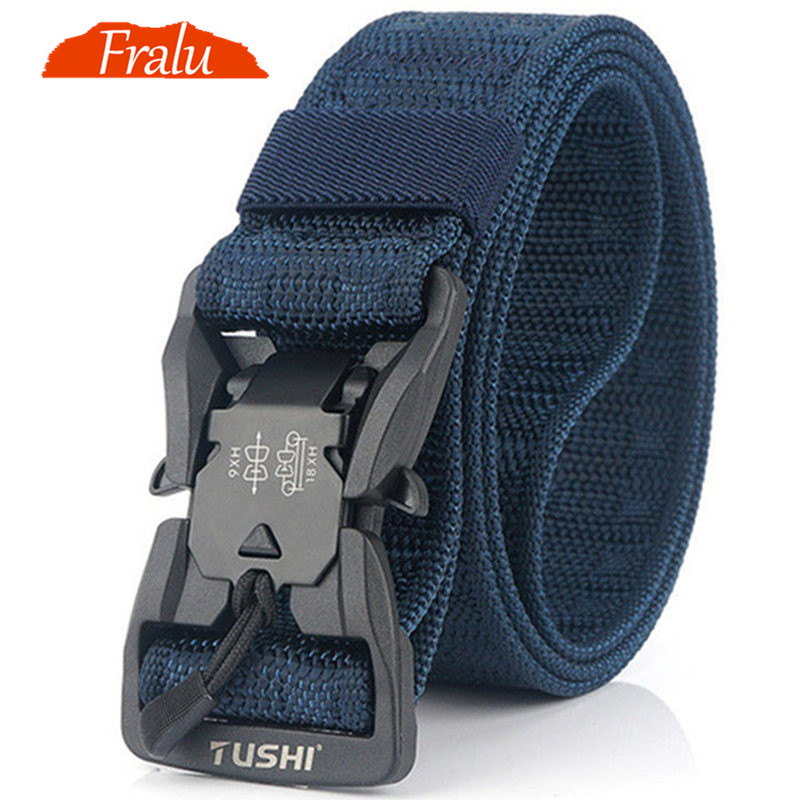 FRALU NEW Military Equipment Combat Tactical Belts for Men US Army Training PC Quick Release Magnetic Buckle Nylon belt