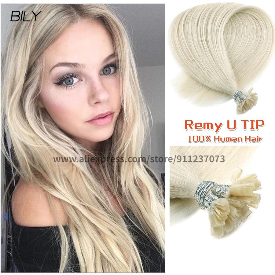 BILY блонд U Nail Tp наращивание волос Remy человеческие волосы натуральные прямые двойные вытянутые кератиновые кончики Fusion настоящие волосы в ка...