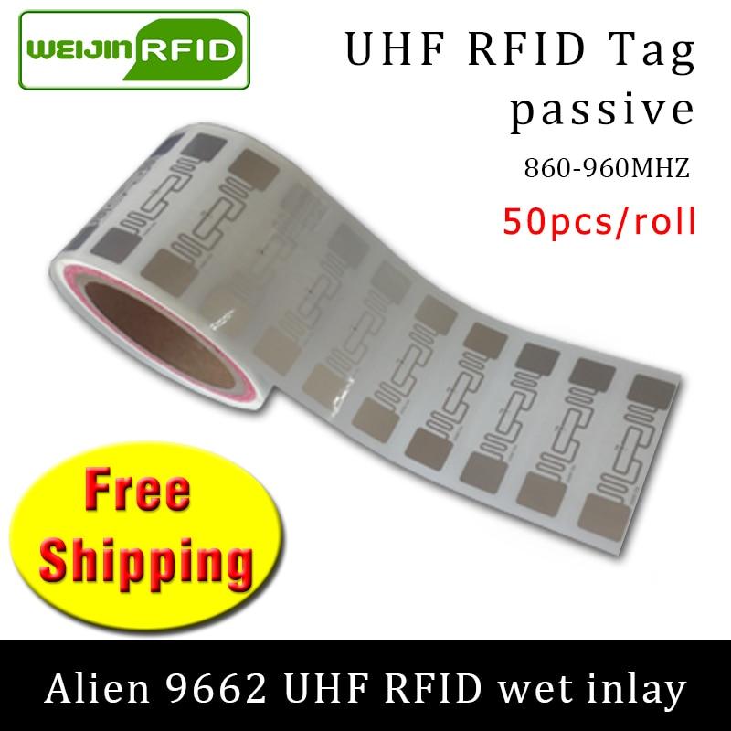 RFID Tag UHF Sticker Alien 9662 Wet Inlay 915mhz868mhz 860-960MHZ Higgs3 EPC 6C 50pcs Free Shipping Adhesive Passive RFID Label