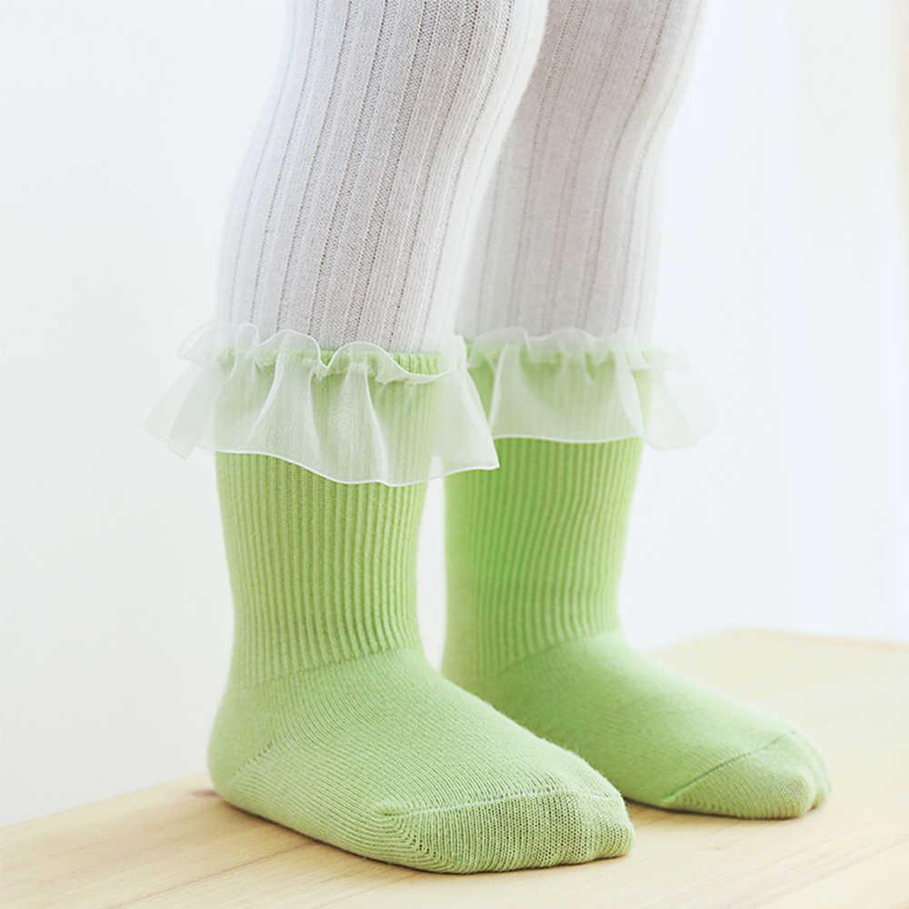 Otoño Invierno Color sólido calcetines infantiles nuevos calcetines laterales de encaje PARA NIÑOS Calcetines de algodón para recién nacidos accesorios de ropa de bebé