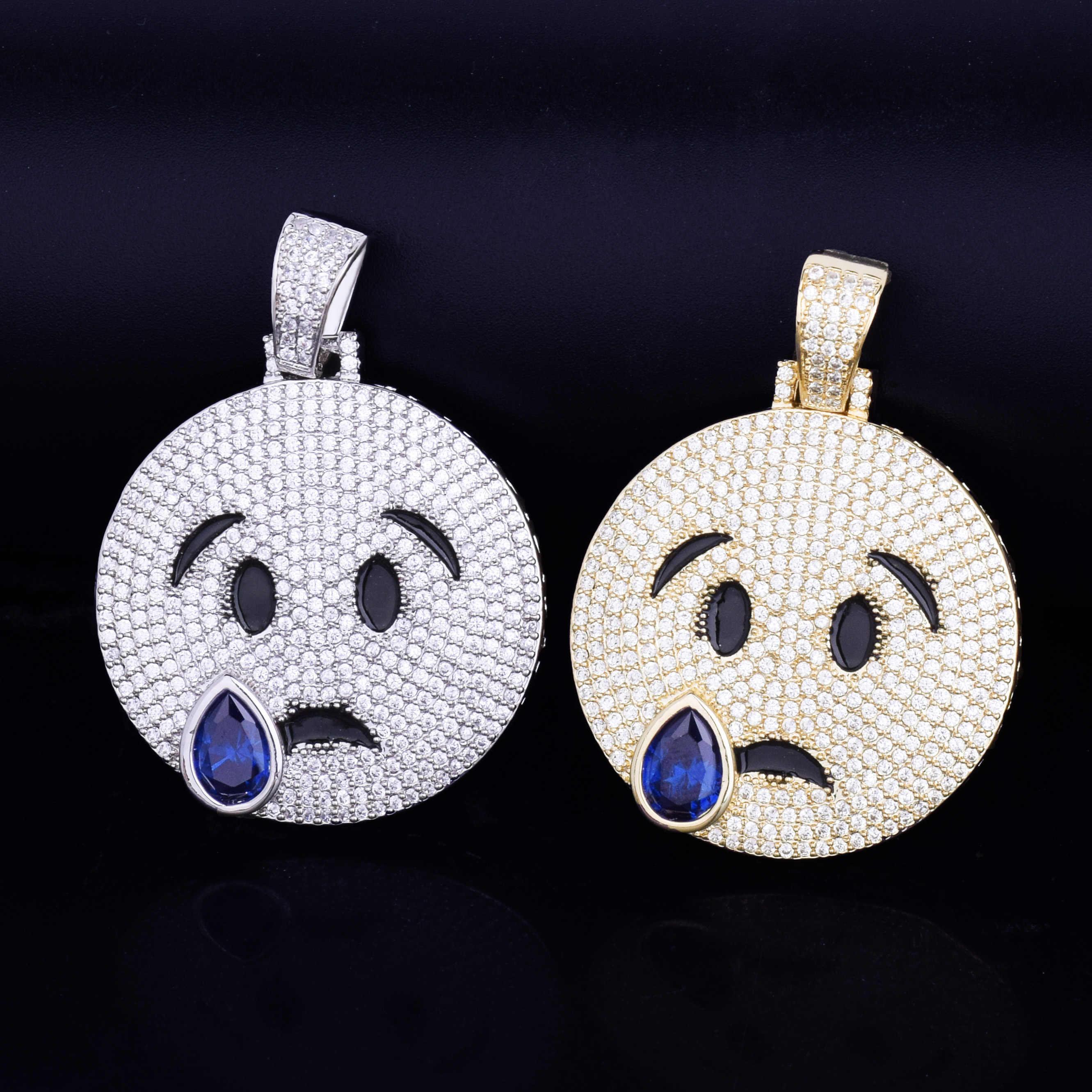 Płacząca twarz naszyjnik łańcuszek złoty srebrny z niebieskim sześciennym cyrkonią męski hip hop Rock Jewelry