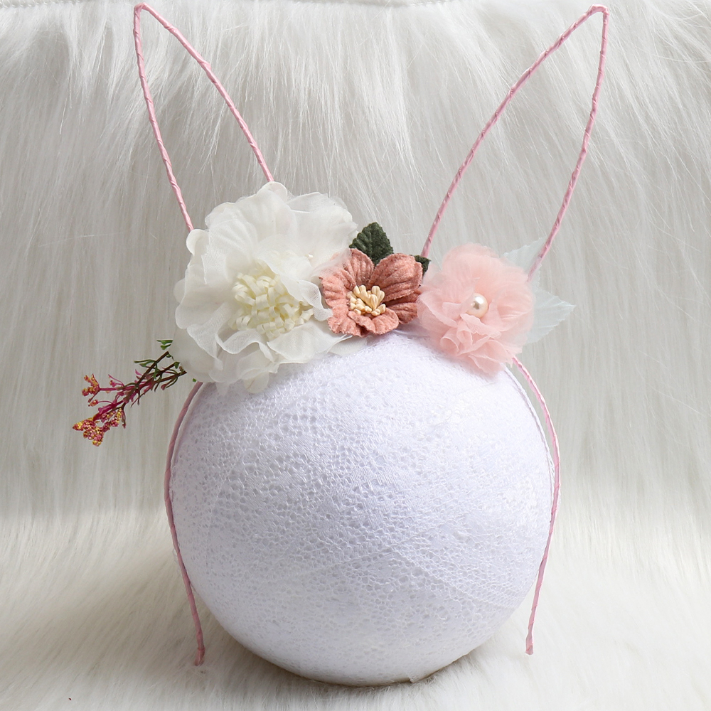 Fashion Flower Rabbit Ears Bunny Hairband for Women <font><b>Sexy</b></font> Black <font><b>Cat</b></font> Headband Party Headwear Easter Day Girls Hair <font><b>Accessories</b></font> image