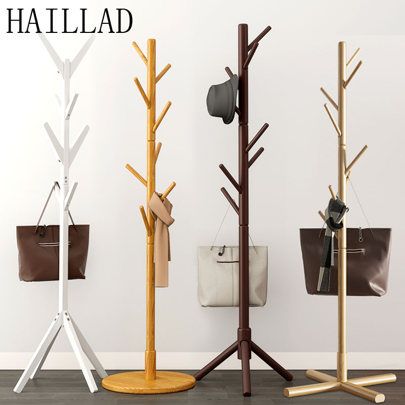 Original Pine Wood Hanger Floor Standing Coat Rack Clothes Hanger Stand Floor Multi-function Rack Bedroom Storage Organizer