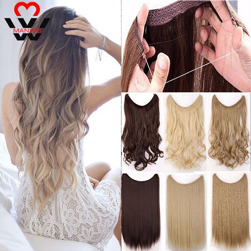 MANWEIWomen Fish Line Hair Extensions Black Brown Blonde Natural Wavy Long High Tempreture Fiber 24 Inches Synthetic Hairp