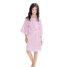 Ночная рубашка для маленьких девочек; однотонная цветная пижама для девочек с рукавами; Однотонный тонкий кардиган с завязками; халат; одежда для маленьких девочек