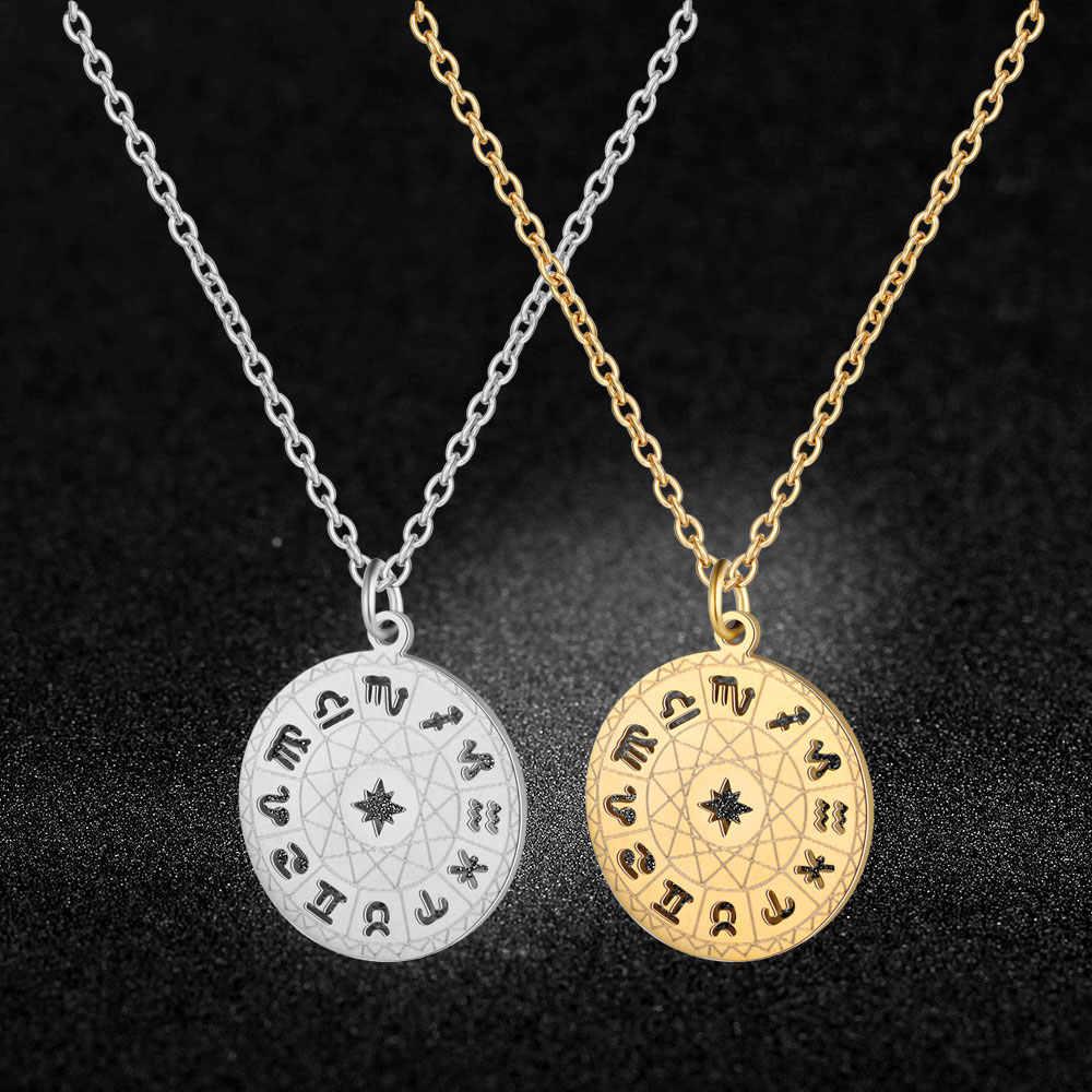เยี่ยมยอด 12 Constellation 100% สแตนเลส Zodiac Charm สร้อยคอผู้หญิง Super แฟชั่น Charm เครื่องประดับขายส่ง