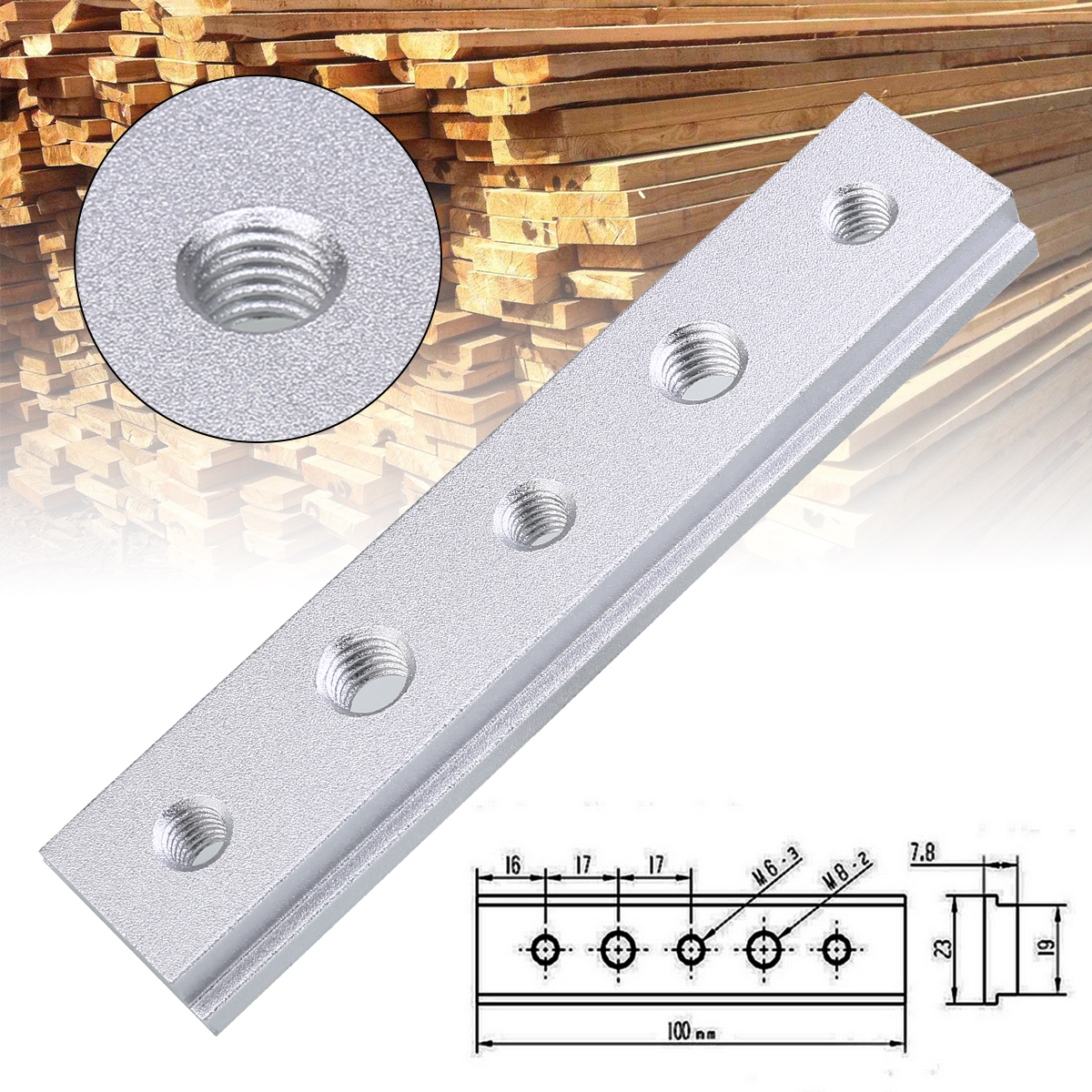 M6 M8 Thread 100mm Aluminium Alloy T-Slot T-Track Miter Track Jig Fixture For Table Saw Router Table Woodworking Tool