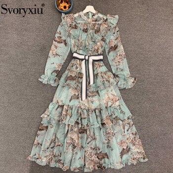 Женское винтажное платье Svoryxiu, платье миди с цветочным принтом и бантом на ремне, 2020