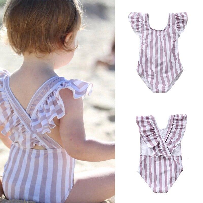 Stroje kąpielowe dla dzieci 2020 nowy marka dziewczyny Stripe plaża jednoczęściowe stroje kąpielowe letnie dziecko dziecko Splice odzież