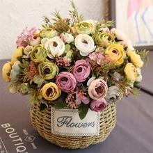 Ramo de flores de color rosa de té Artificial para decoración de boda de fiesta en casa arreglo Vintage europeo flor de Rosa de seda falsa