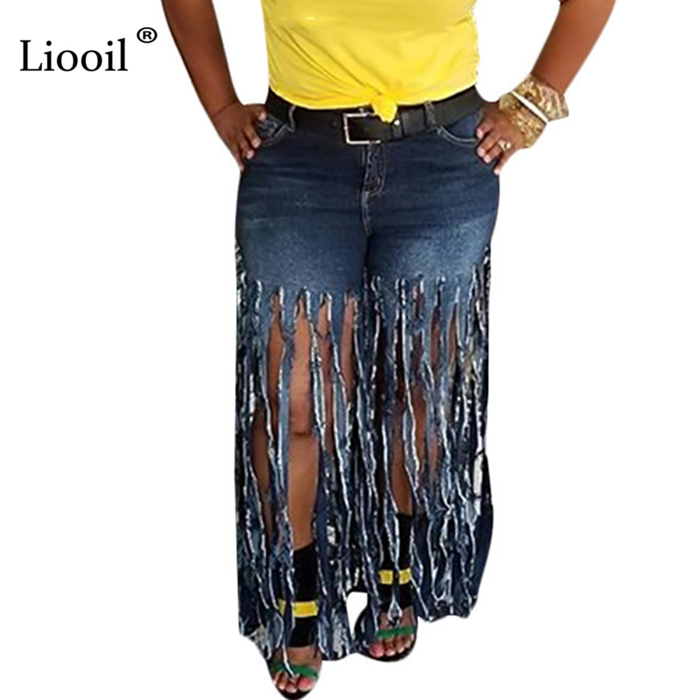 Liooil Plus Size Streetwear Women Blue Sexy Denim Pants 2019 Autumn Vintage High Waisted Straight Jeans With Tassels Trousers
