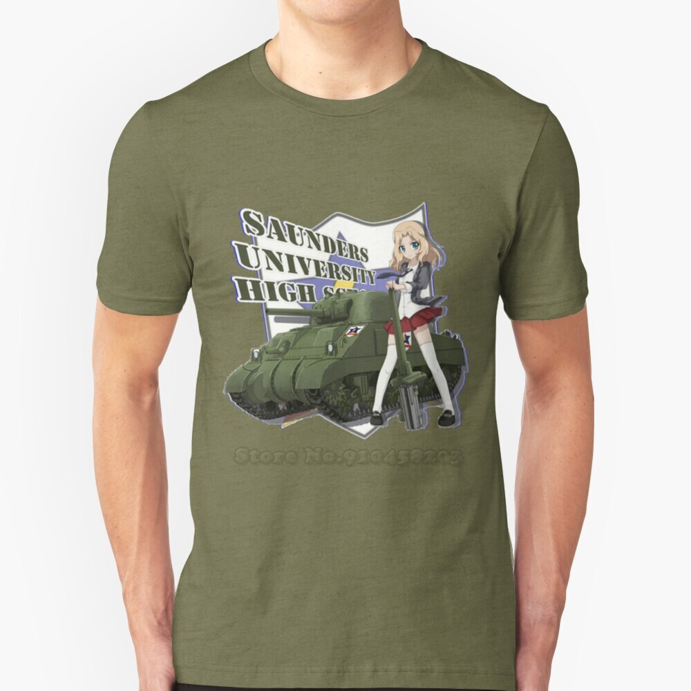 Saunders high school masculina camiseta macio e confortável topos camiseta roupas meninas e panzer kay mundo dos tanques