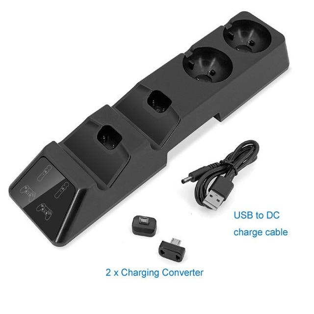 Зарядная док станция для контроллера 4 в 1, подставка для Playstation PS4, PSVR, PS VR Move, четырехъядерное зарядное устройство для контроллера PS4 Move и VR