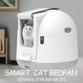 Caja de arena automática para gatos, caja de arena cerrada automática, grande, Kit para gatos, caja de arena Inodoro