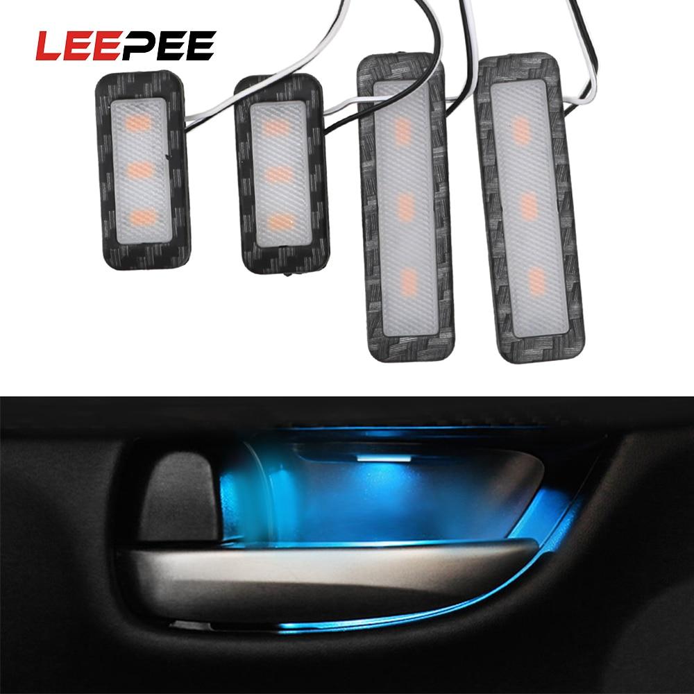 LEEPEE LED COCHE Interior de luz luces decorativas Universal Auto lámpara ambiente reposabrazos manija de puerta Interior iluminación 4 unids/set