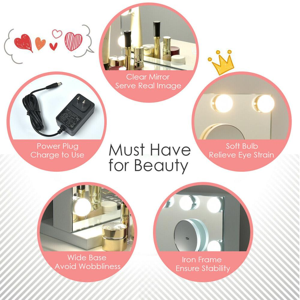 Hollywood Vanity Lighted Mirror Touch Control Magnification Bluetooth Speaker HB86948US 5