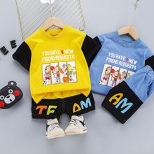 1 2 3 4 Years Boys Clothes Toddler Kids Cartoon Outfit Cotton T-shirt + Shorts Summer Patchwork Children Costume Soft Suit