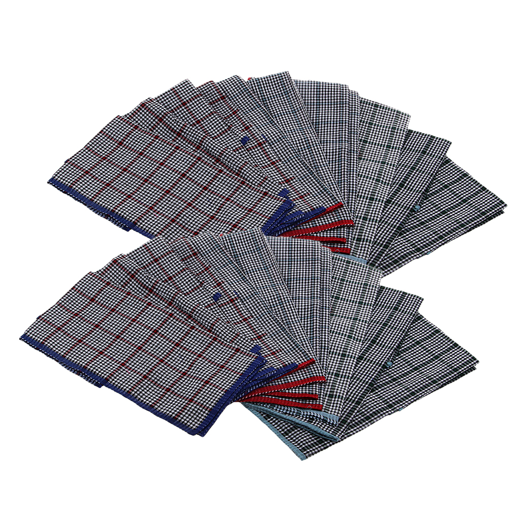 Pack Of 24, 100% Cotton Handkerchiefs - Soft Pocket Squares For Mens Suits, Classic Plaids