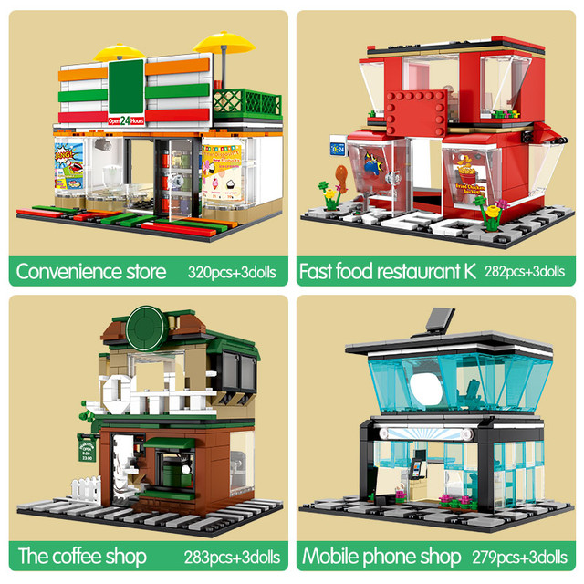 City Street View Cafe Restaurant Building Blocks for  Architecture Diy House Food Shop Retail Store Bricks Toys For Kids