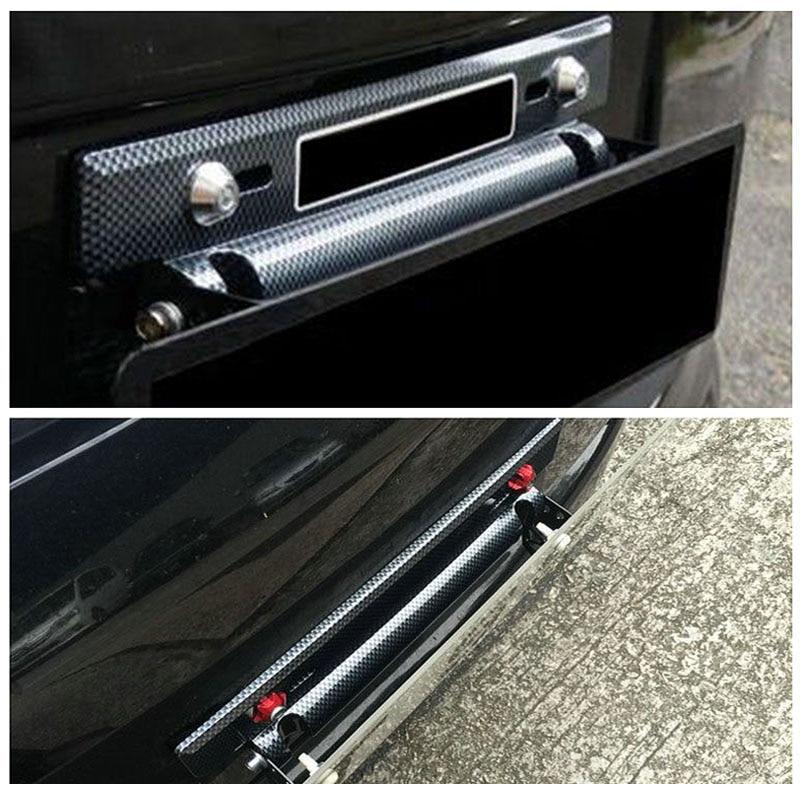 רכב שינוי חלק לוחית רישוי מתכוונן סיבי פחמן דפוס מספר רכב לוחית רישוי מירוץ מסגרת מחזיק עבור רוב אוטומטי