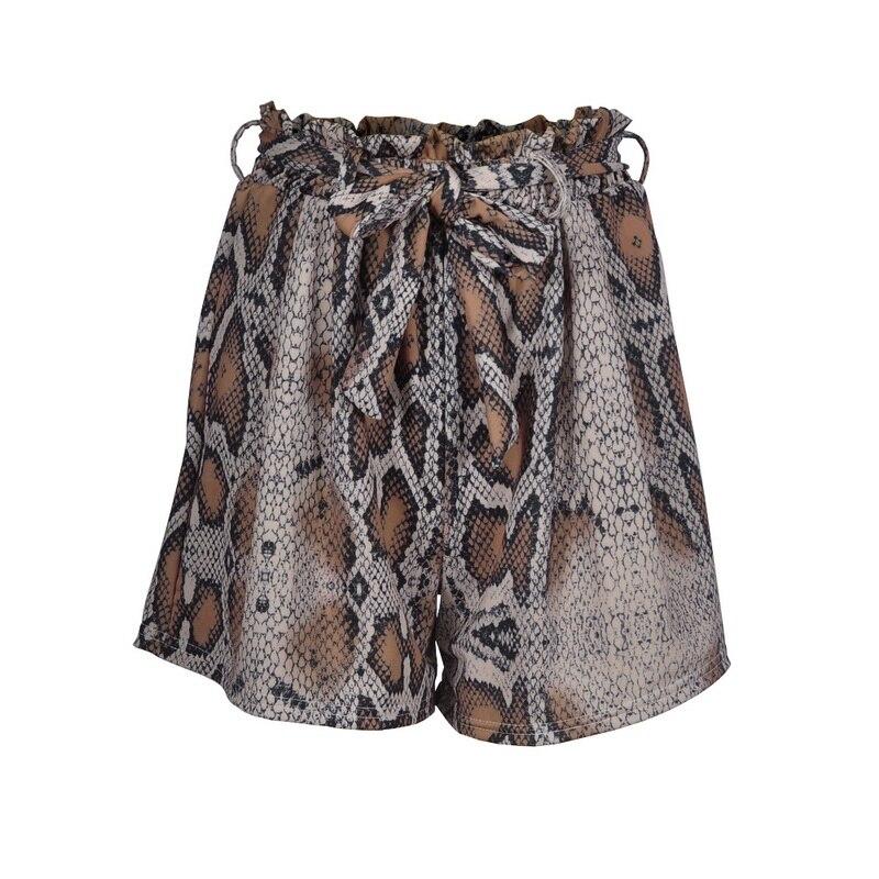 JODIMITTY New Snake Print High Waist Shorts Women 2020 Spring Paper Bag Sexy Fashion Lace Up Ruffle Mini Ladies Shorts Skirts