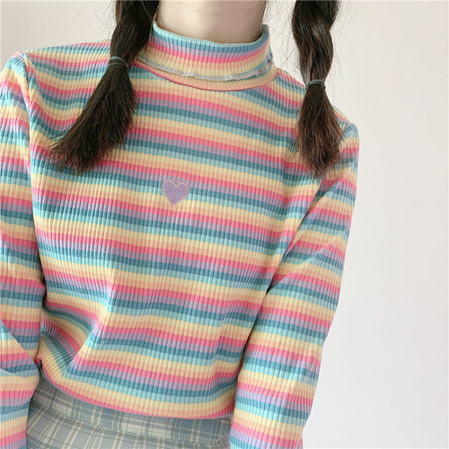 2 Color New Kawaii Lolita Sweaters Vitality Girl Rainbow Sweater Turtleneck Cute Heart Embroidery Women Sweater Knit Tops