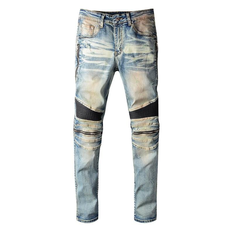 KIOVNO Men Fashion Biker Jeans Pants Knee Zipper Motorcycle Denim Trousers For Male Size 29-38 Patchwork