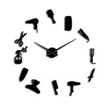 Diy Barber Shop Giant Wall Clock with Mirror Effect Toolkits Decorative Frameless Watch Hairdresser Art