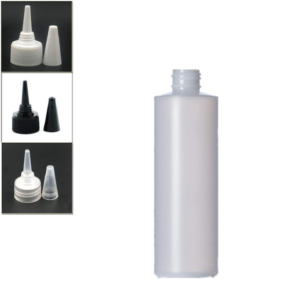 250ml Empty Plastic Soft  Bottle , HDPE Cylinder Round With Black/white/transparent Twist Top Caps, Pointed Mouth Top Cap