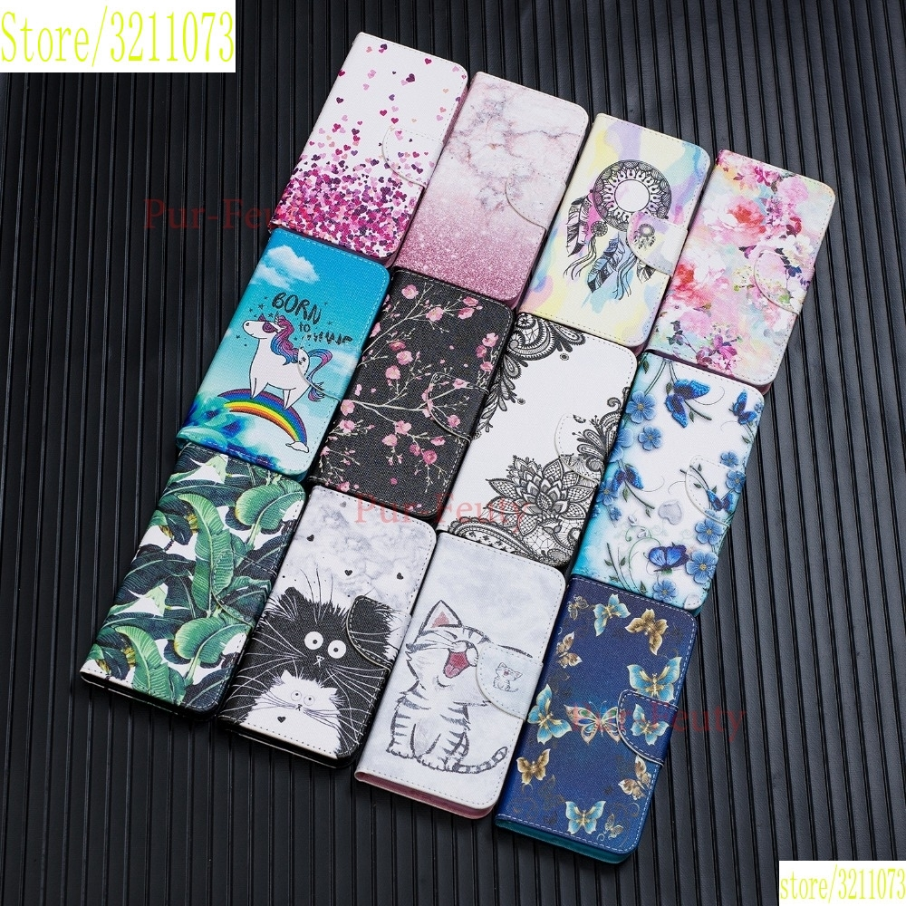 <font><b>Case</b></font> For <font><b>Samsung</b></font> Galaxy J4 <font><b>J6</b></font> Plus 2018 SM-J610FN/DS Magnetic Painted Butterfly Luxury PU <font><b>Leather</b></font> Wallet Hoesje Cute Flip Cover image