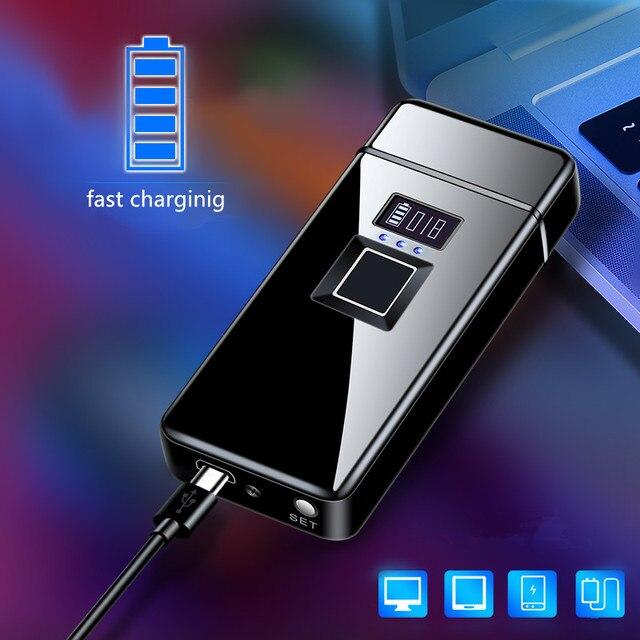 2020 prawdziwe rozpoznawanie linii papilarnych elektroniczny Usb Recharge Sense Touch Electric Arc moc wyświetlacza zapalniczki na dzień ojca