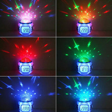 7 Colors LED Change Fashion Electronic Clock Digital Alarm  Alert Clock Thermometer Light Cube Clock Night Children Alarm Clock