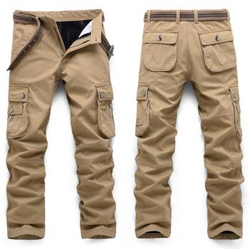 Męskie spodnie sportowe wojskowe spodnie wojskowe spodnie taktyczne męskie modne ubrania z czystej bawełny spodnie robocze prosty krój wiosna jesień tanie i dobre opinie TIKALIA Spodnie cargo CN (pochodzenie) Mieszkanie COTTON Z KIESZENIAMI REGULAR Military średniej wielkości DROBNY WZÓR