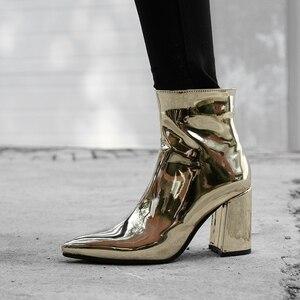 Image 5 - 2020 חדש רסיס זהב נשים קרסול מגפיים עבים הבוהן מחודדת גבוהה עקב מגפי מראה מתכתי נשים משאבות נשי סקסי פגיון מגפיים