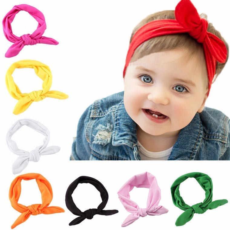 Królik łuk uszy opaska do włosów dla dzieci dla dzieci dziewczyny opaska do włosów z pałąkiem na głowę Turban Knot głowy okłady Elastique Cheveux Fille Haarband dla dzieci