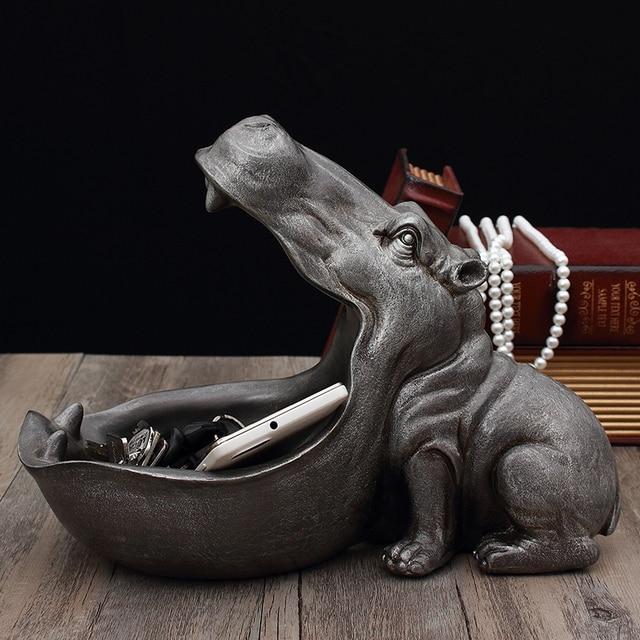 ERMAKOVA Hippopotamus Storage Box Statue Creative Hippo Figurine Sculpture Key Candy Container Home Table Decoration Gift 2
